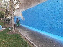 دیوار بوستان امیر رنگ آمیزی می شود