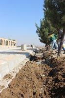 عملیات لوله گذاری آب خام  در بلوار شهید نسائی